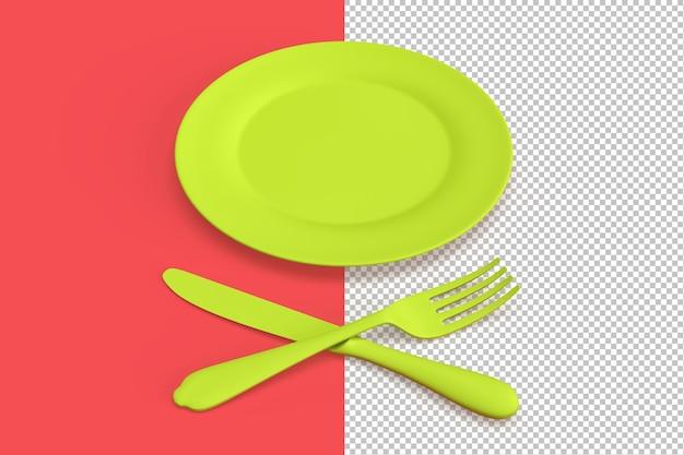 Composizione minimalista con piatto vuoto, coltello e forchetta