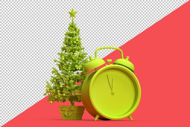 Illustrazione minimalista dell'albero di natale e di una sveglia