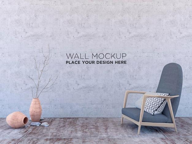 Interni moderni minimalisti con poltrona, mockup per il tuo design. puoi usare questo mockup per mostrare la tua opera d'arte sul muro
