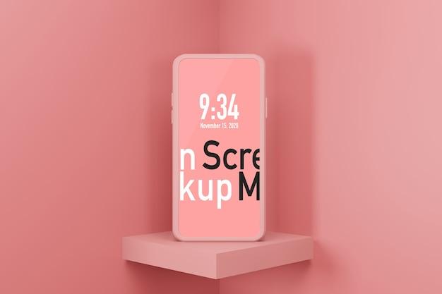 Mockup di sfondo per display di fase di rendering 3d mobile