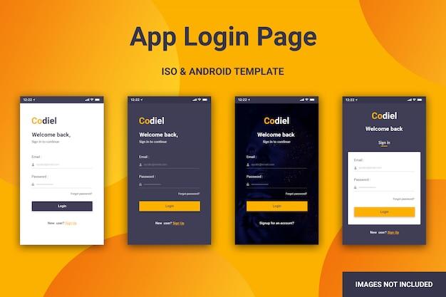 Pagina di accesso all'app per dispositivi mobili