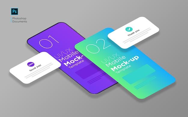 Mobile app tow screen con popup isometrico mockup design