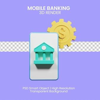 Mobile banking per le esigenze dei clienti bancari. illustrazione 3d