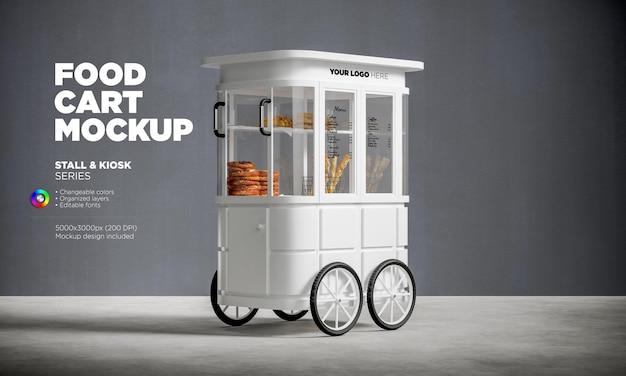 Mockup di carrello di cibo mobile in rendering 3d