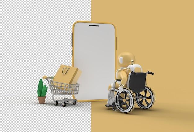 Mockup per lo shopping online mobile con l'astronauta nel file psd trasparente del banner web della sedia a rotelle.