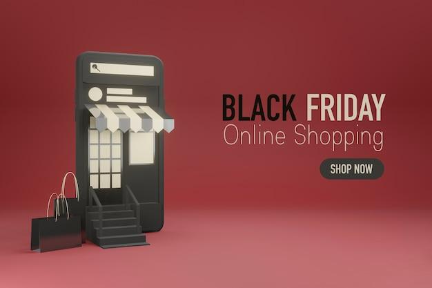 Telefono cellulare come parte anteriore di un negozio online in progettazione 3d
