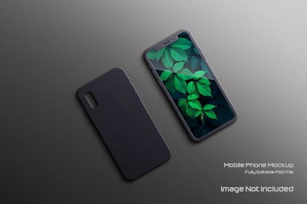 Mockup di cellulare con cover posteriore ed elegante ombra