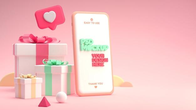 Mockup di cellulare con scatole regalo in un colorato stile cartone animato 3d Psd Premium