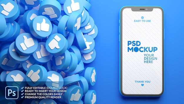 Mockup di telefono cellulare con un mucchio di mi piace di facebook su uno sfondo blu nel rendering 3d