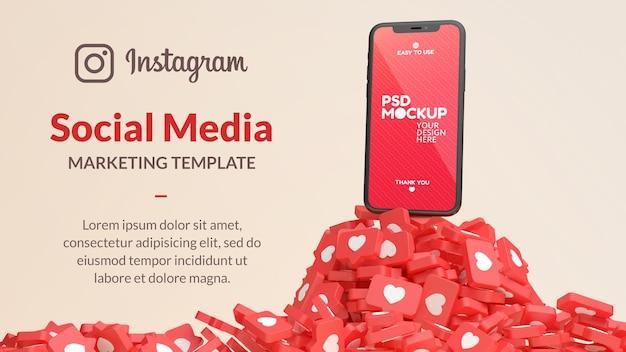 Mockup di telefono cellulare con una montagna di notifiche simili a instagram nel rendering 3d