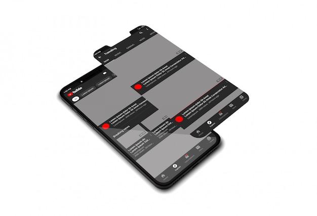Mockup di telefoni cellulari con l'app di youtube
