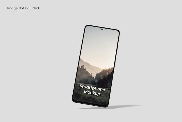 Angolo di vista frontale del mockup dello schermo del telefono cellulare isolato