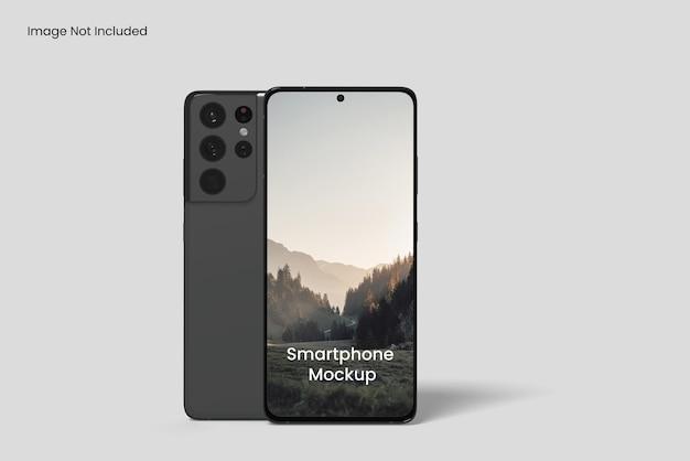 Angolo di vista frontale del mockup dello schermo del telefono cellulare
