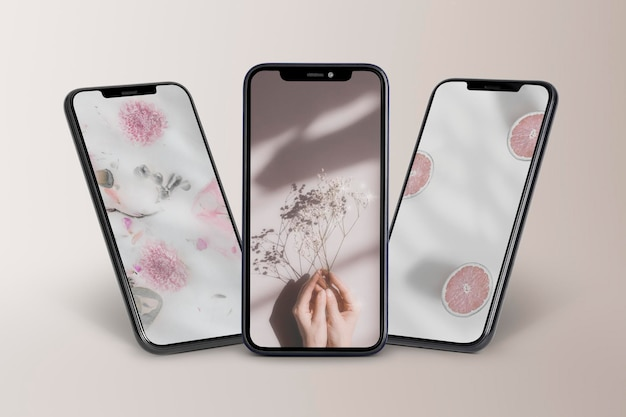 Prototipi dello schermo del telefono cellulare vetrina del prodotto psd