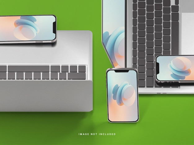 Telefono cellulare con mockup di laptop