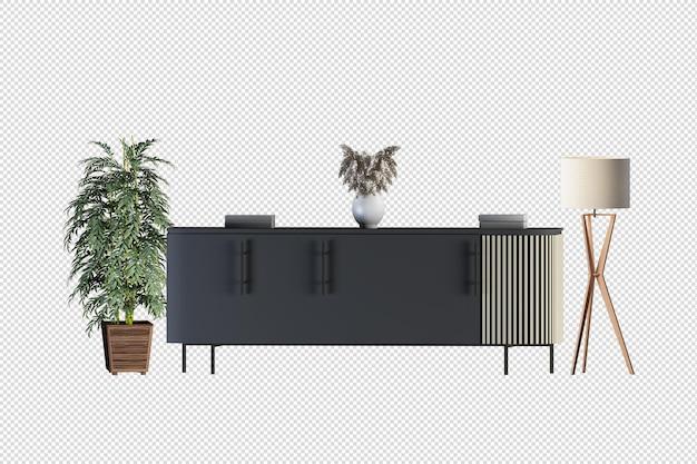 Mock up cabinet in soggiorno moderno con poltrona in pelle e lampada per piante su sfondo bianco muro