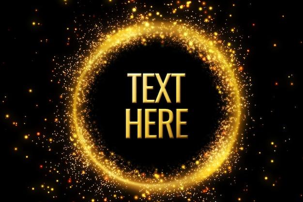 Modello. cornice rotonda dorata per il tuo testo. glitter dorati.