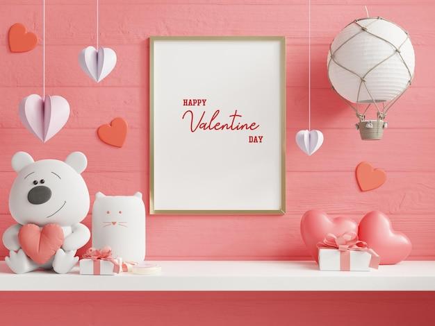 Mock up frame poster nella stanza di san valentino, poster su sfondo muro bianco vuoto, rendering 3d