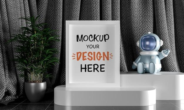 Mock up frame poster con droide astronauta per un rendering 3d di baby shower