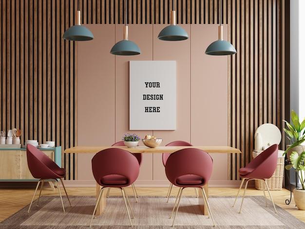 Mock up poster nella moderna sala da pranzo dal design interno con parete vuota marrone. rendering 3d