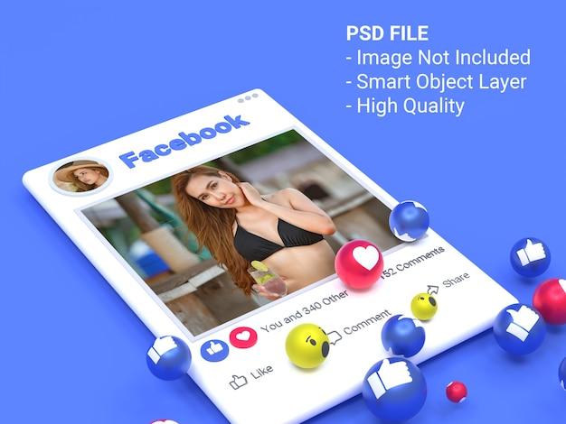 Mockup del post di foto dei social media di facebook in 3d