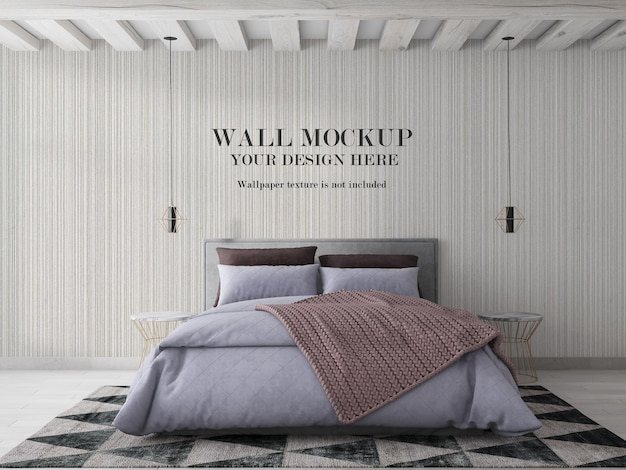 Mockup dietro il letto per il design della tua carta da parati