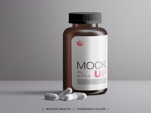 Mockup di contenitore di medicina di imballaggio bottiglia pillola medica plastica marrone con capsule isolate