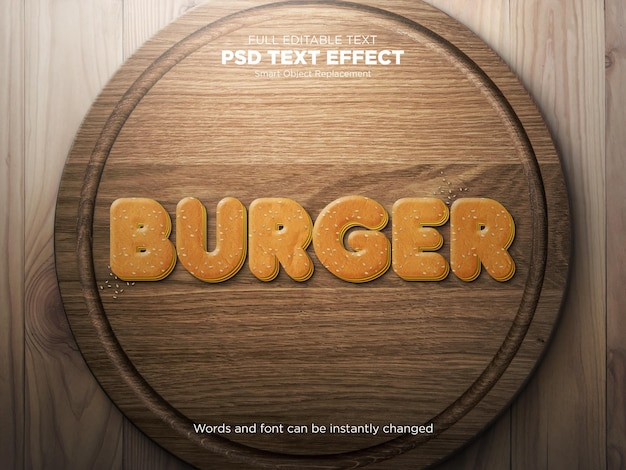Effetto stile testo mockup hamburger