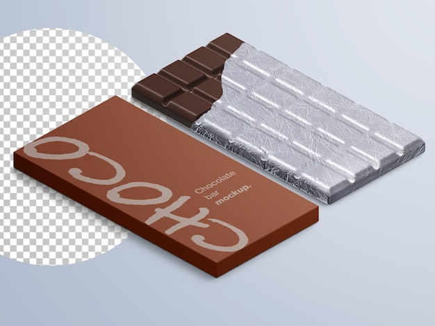 Mockup di confezione di barretta di cioccolato isolato