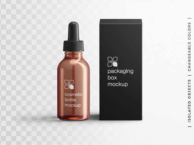 Mockup di cosmetici contagocce bottiglia di vetro contenitore di siero contenitore di imballaggio mockup scene creatore isolato