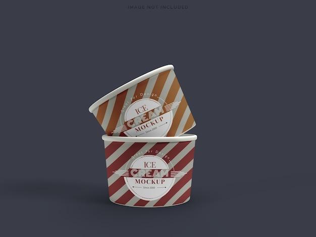 Imballaggio del gelato della tazza del mockup isolato