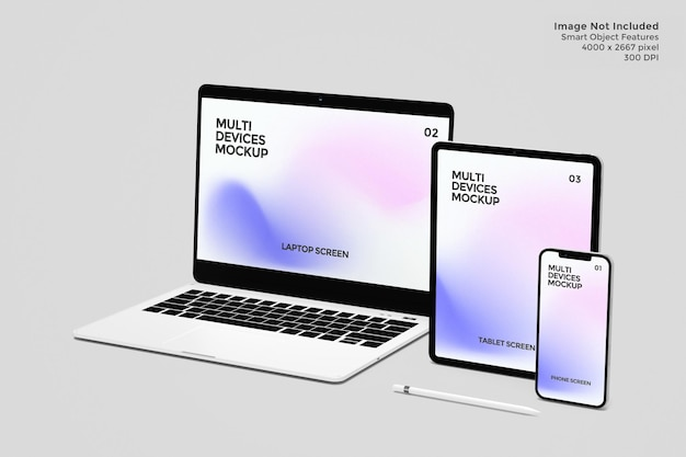 Schermata dei dispositivi mockup nel rendering 3d