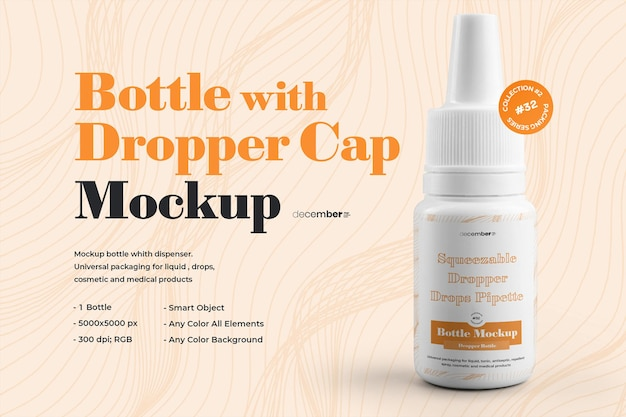 Mockup dropper bottles orecchio collirio design