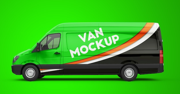 Mockup di un furgone verde