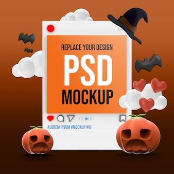 Mockup halloween instagram social media Psd Premium