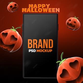 Mockup halloween design dello smartphone rendering 3d Psd Premium
