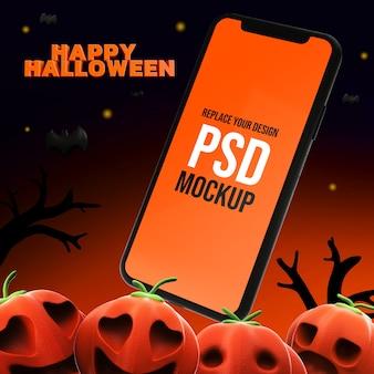 Mockup halloween design dello smartphone rendering 3d