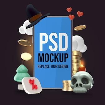 Mockup halloween design dello smartphone