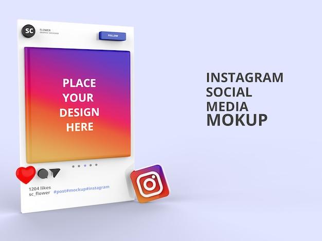 Mockup di social media instagram 3d