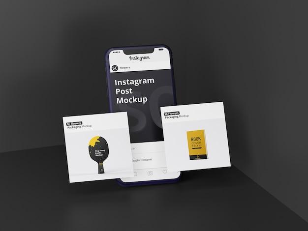 Mockup post sui social media di instagram