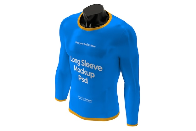 Mockup di t-shirt manica lunga isolata sul design del manichino