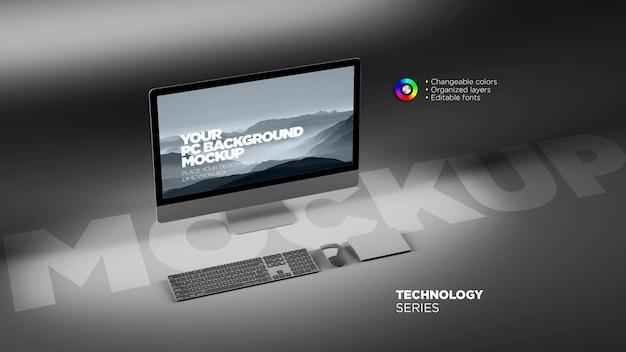 Mockup dello schermo del dispositivo del computer desktop isometrico