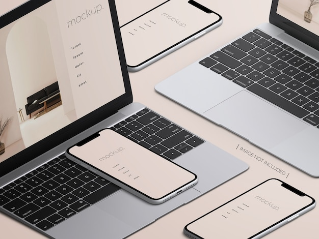 Mockup di laptop macbook isometrico e schermate di dispositivi smartphone