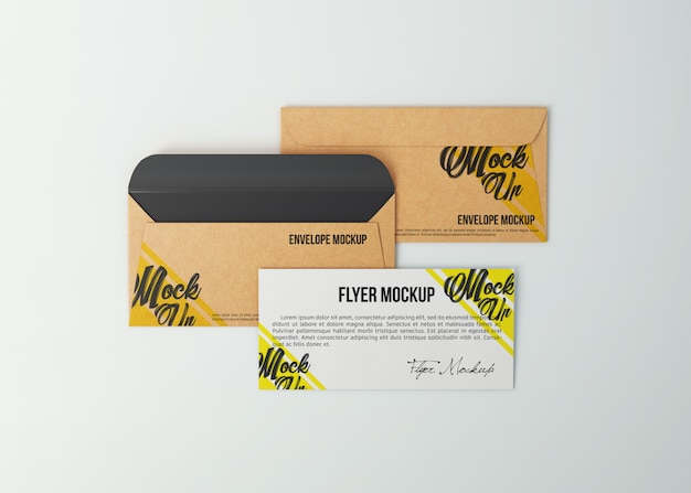 Mockup kraft buste e volantini di carta