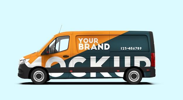 Mockup di un furgone laterale isolato