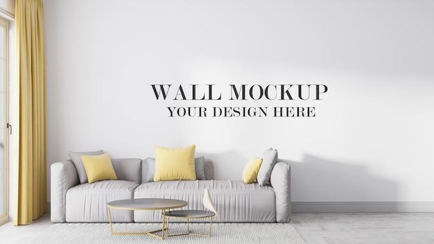 Mockup parete del soggiorno in rendering 3d Psd Premium