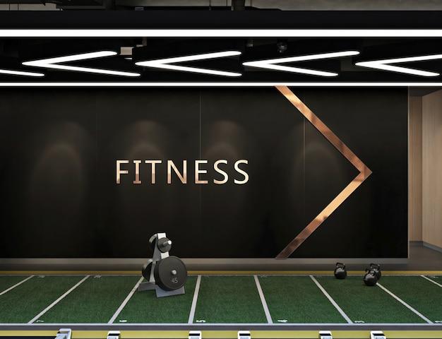 Logo di mockup nel moderno centro fitness contemporaneo