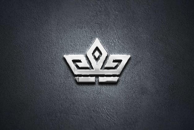 Mockup logo reflection chrome