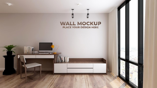 Mockup logo o testo nell'area di lavoro interna del business moderno