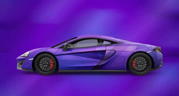 Mockup di un'auto sportiva viola generica di lusso